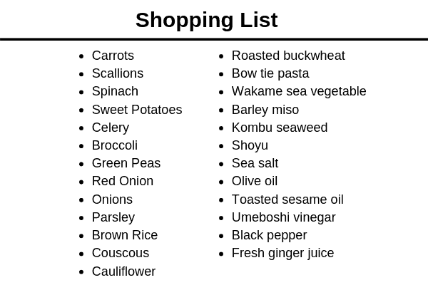 Macrobiotics Shopping Plan